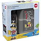 Emsa 516164 2-teiliges Geschenkset für Kinder, Brotdose und Trinkflasche, Schwarz, Kids Set Pirat