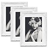 3er Set Bilderrahmen 9454-3 Kunststoffrahmen, Glasscheibe, Antik Barock, zum Aufstellen, zum...