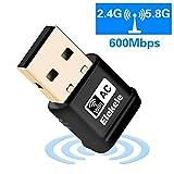 Elekele® Mini USB Wlan Adapter, USB Wifi Adapter 2.4GHz/5GHz Dual Band 600Mbit/s Wireless USB...