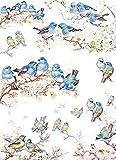 Reispapier A4 - Bluebirds, Motiv-Strohseide, Strohseidenpapier, Decoupage Papier