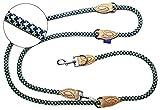 PROFTI Hundeleine aus Nylon, Lederelemente, 4fach verstellbar, große/kleine Hunde, 1,2x230cm,...