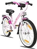 PROMETHEUS Mädchenfahrrad 18 Zoll in Rosa Lila & Weiß mit Gepäckträger, Aluminium Seitenständer...