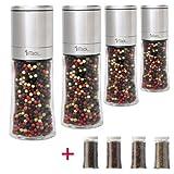 Pfeffermühle Salzmühle Gewürzmühle - Edelstahl (4 Stück im Set) - 150ml - unbefüllt - mit...
