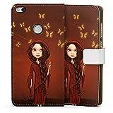 Huawei P9 Lite (2017) Tasche Hülle Flip Case Schmetterlinge Maedchen Girl