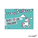 15 süße Einladungskarten Motiv Einhorn, DIN A6 umweltfreundlich - Kindergeburtstag, Einhörner,...