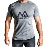 Natural Athlet T-Shirt grau L Fitness Herren tailliert Slip fit meliert kurzarm rundhals