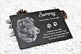 Schiefer Gedenktafel Gedenkstein mit Gravur / Fotogravur + 1 Motiv ca. 30x20 cm für Haustiere: Hund...