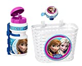 3tlg Disney Frozen die Eiskönigin Kinder Fahrrad Lenker Korb + Sport Trinkflasche + Klingel Glocke...