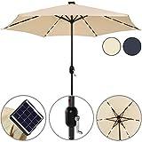 Sonnenschirm Alu 24 LED Solar Ø 270cm anthrazit - Kurbelsonnenschirm Gartenschirm Ampelschirm