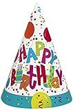 Birthday Jamboree Partyhüte zum Geburtstag, Aufschrift Happy Birthday, 8Stück