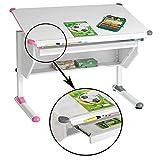 Kinderschreibtisch Schülerschreibtisch PHILIPP höhenverstellbar in weiß mit Schublade und Ablage,...
