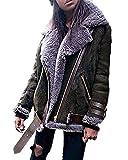 Minetom Damen Mode Warm Casual Streetwear Winter Wildleder Wolle Motorradjacke Mantel Fleece Outwear...