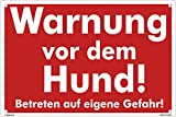 Kleberio® Warn Schild 30 x 20 cm - Warnung vor dem Hund! Betreten auf eigene Gefahr - mit 4...
