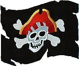 PIRATENFAHNE Piraten Logo Fahne Totenkopf Hut Kostüm Applikation Aufnäher Patch