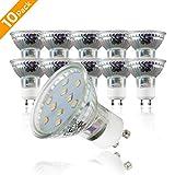 B.K.Licht LED Leuchtmittel I GU10 Lampenfassung I 10er Set 3W LED Lampen I warm-weiß I...