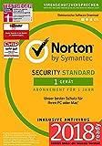 Norton Security Standard Antivirus Software 2018 / Zuverlässiger Virenschutz (Jahres-Abonnement)...