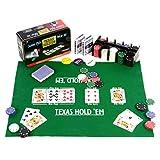 Pokerset 200 Pokerchips Spielmatte Pokerkarten Geschenkbox aus Metall 2 Decks, Dealer Button, Small...