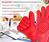 Barbecue Grillhandschuhe, Silikon wärme resistent Backhandschuh für Ihre Indoor & Outdoor...