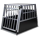 Jalano Hundetransportbox Alu Größe XXL schwarz/Silber - Gitterbox Aluminium Auto Transportbox...