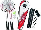 Talbot-Torro Badminton-Set 4-Attaccker Plus, 4 Schläger, 3 Federbälle, komplette Netzgarnitur, in...