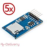 AZDelivery 5er Set SPI Reader Micro Speicher SD TF Karte Memory Card Shield Modul für Arduino