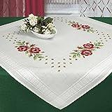 Stickpackung SOMMER ROSEN / Komplettes Vorgezeichnetes Tischdecken Set zum Sticken / Blumen Stickset...