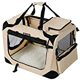 FEANDREA Hundebox Transportbox Auto Hundetransportbox faltbar Katzenbox Oxford Gewebe beige S 50 x...