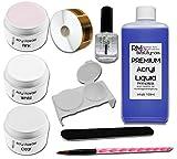 Acryl Set 1 - 100ml Liquid je 20g Klar - Weiß - Pink Puder 1xPrimer Feile RM Beautynails