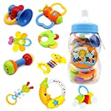 Baby Rassel und Teether Spielzeug - 9 Stück Bunte Teether Spielzeug mit Giant Baby Flasche Münze...