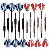 Dartpfeile, Steel Dart Darts 12 Stück mit 30 Flights / 3 Schaft /50 Gummiringe Dart Pfeile 24 Gramm...