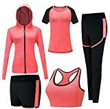 Zetiy Damen 5er-Set Strech Tights Sport Yoga Trainingsanzug (XL, Rosa)