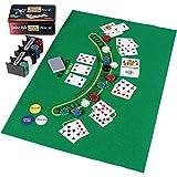 Pokerset in Metallbox, 200 Poker Chips, 2 Decks, Dealer Button, Small Blind, Big Blind, Spielmatte