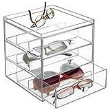 mDesign Aufbewahrungsbox für Brillen - Brillenablage für Brillenaufbewahrung in 3 Schubladen -...
