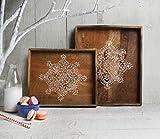 Neujahr Geschenke, Set von 2 Holztablett Fruhstuck servieren Platte mit naturlichen bemalten Design...