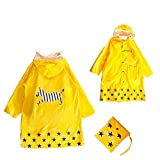 GIM Kinder Regenmantel Wasserdicht Regenponcho Regenjacke Regenwetter Schutz für Mädchen & Jungen...