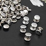 Ecloud Shop® 100pcs 9mm Silber Kupfer Runde Leder Fertigkeit DIY Rapid-Bolzen Nieten Lochen für...