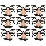 German Trendseller® - 6 x Spaß Brillen mit Nase + Bart ┃ Dude ┃ Opa ┃ Professor ┃ Fasching...