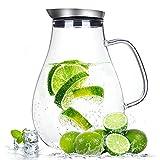 Suteas 2.0 Liter Glaskrug mit Deckel, Wasserkaraffe Krug für heißes/Kaltes Wasser, Eistee und...