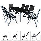 Deuba Aluminium Sitzgruppe 8+1 Silber | 8 verstellbare Stühle | Tisch höhenverstellbar | 5mm...
