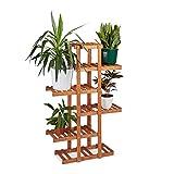 Relaxdays Blumenregal aus Holz, 5 Ebenen, Blumenständer für innen, Mehrstöckig, HBT: ca. 125 x 81...