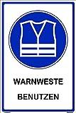 Kleberio® selbstklebender PVC Aufkleber 60 x 40 cm - Warnweste benutzen - Hinweis Aufkleber