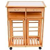 Küchentisch 3-teilig Esstisch Essgruppe Sitzgruppe Tischgruppe Küchenwagen klappbar