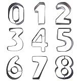 9 Keksausstecher in Zahlenform aus Metall von Kurtzy- Edelstahl-Ausstecher Set der Zahlen 0 - 9....