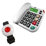 Pflegerufset Senioren-Notruf-Telefon mit Armband-Sender und Adapterstecker