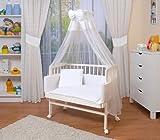 WALDIN Baby Beistellbett komplett mit Ausstattung, höhen-verstellbar, Buche Massiv-Holz weiß...