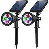 AMIR Gartenleuchten Solar, Gartenleuchten, Colorful LED Spot Leuchte, 200 Lummen Wasserdicht...