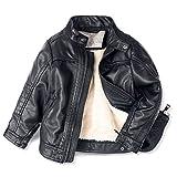 ljyh Kinder-Motorradjacke Leder T3–12 Gr. 3-4 Jahre, Black-Thick