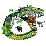 Car Track mit 2 Dinosaurier und Auto Rennbahn Spiel Set Montage Spielzeug für Kinder ab 3 4 5 Jahre