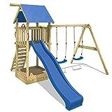 WICKEY Spielturm Smart Empire Kletterturm Garten mit Rutsche, Doppelschaukel und Sandkasten, blaue...