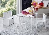 IMPAG ® Kindersitzgruppe Buche Natur | Buche Weiß 1 Tisch 2 Stühle 1 Truhenbank mit Deckelbremse...